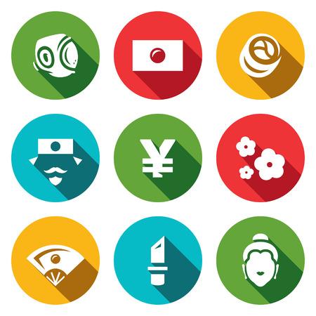 kamikaze: Symbols associated with Japan isolated on white background