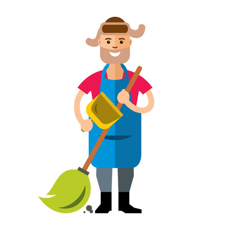 sweeps: A man with a broom sweeps the dust. Isolated on a white background