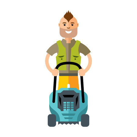 mowing the grass: Gardener with equipment for cutting grass. Isolated on white background Illustration