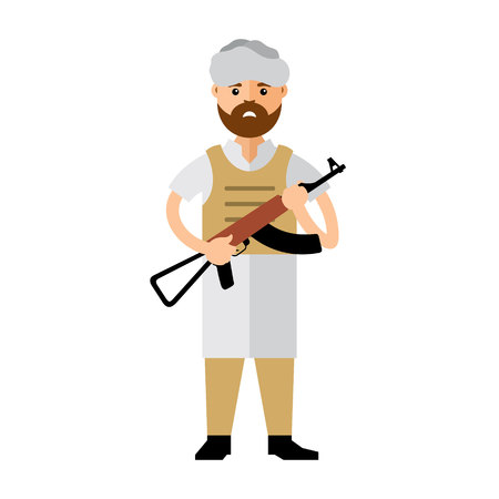 guerilla warfare: Afghan military man with a gun. Isolated on a white background Illustration