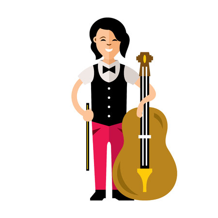 Young cellist and a big stringed instrument. Isolated over white background