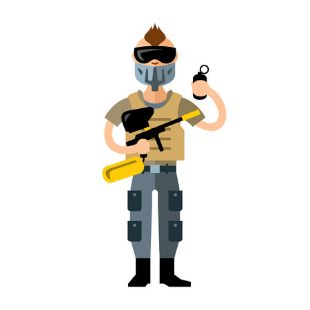 mercenary: Man in uniform with a gun and a grenade. Isolated on a white background