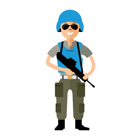 border patrol: Soldier in uniform with a gun. Isolated on a white background