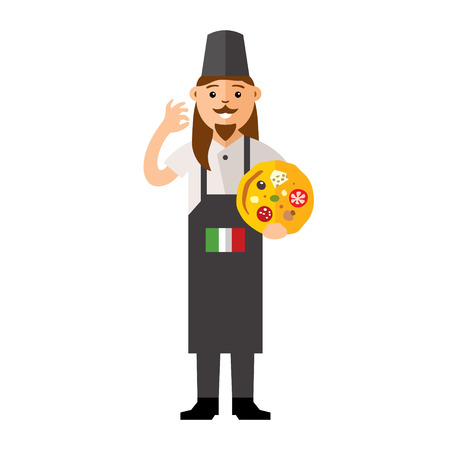 italian chef: Italian Chef with bake and the green white and red flag. Culture of Italians cuisine. Isolated on a white background