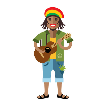 African adult male with dreadlocks and a guitar. Isolated on a White Background Çizim