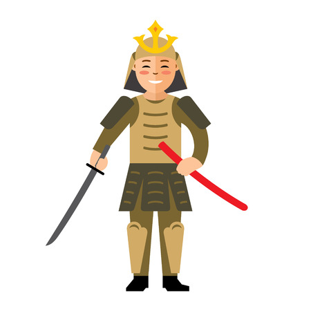 ronin: Warrior in armor with a sword. Isolated on a white background Illustration