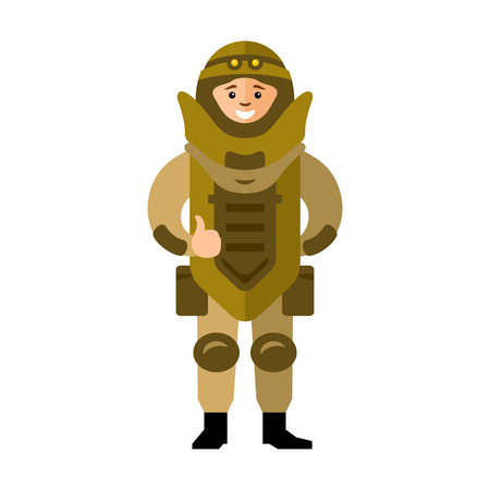 sapper: The soldier in protective clothing of the explosion. Isolated on a White Background Illustration