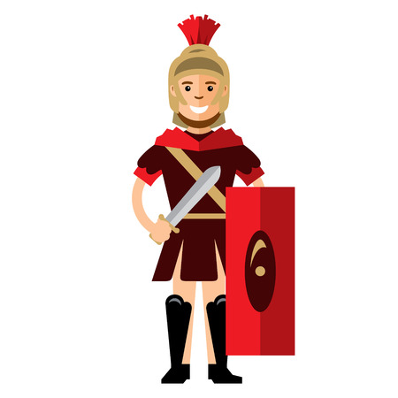 The Ancient soldier with sword and shield. Isolated on a white background Illustration