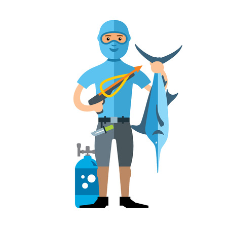 Underwater hunter with trophies. Isolated on a white background Illustration