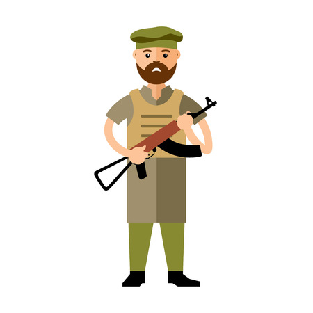 Afghan military man with a gun. Isolated on a white background Illustration
