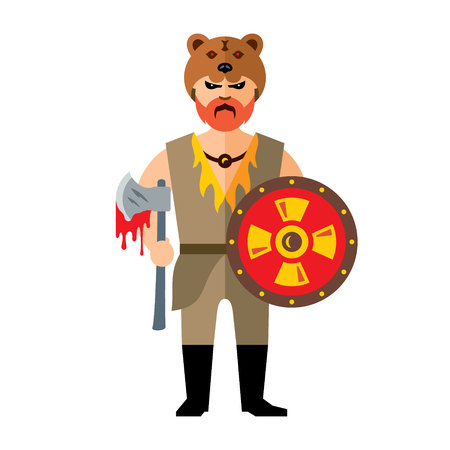battle evil: Barbarian Warrior with ax and shield. Isolated on a white background Illustration