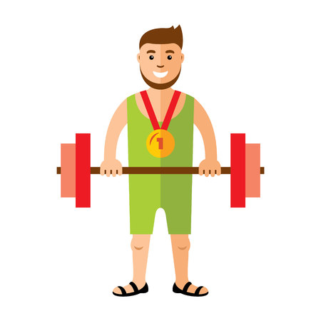 man lifting weights: Strong and handsome man lifting weights. Isolated on white background