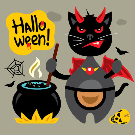 Kitten mixes a potion in a pot. Isolated on a color Background