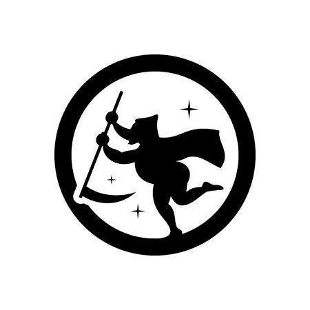 scythe: Angel with scythe. Isolated on a white Background