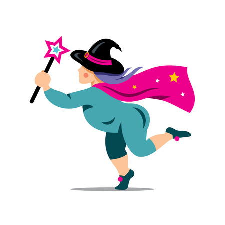 witchery: Wizard with star stick. Isolated on a white Background