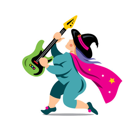 wizardry: Magician guitarist. Isolated on a white Background