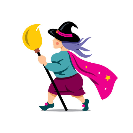 witchery: Wizard with broom. Isolated on a white Background