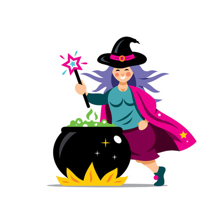 witchery: Wizard with magic wand prepares a potion. Isolated on a white Background