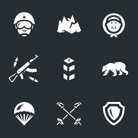 airborne: Soldier, iceberg, chukchi, arms, border post, polar bear, parachute, ski poles, shield.