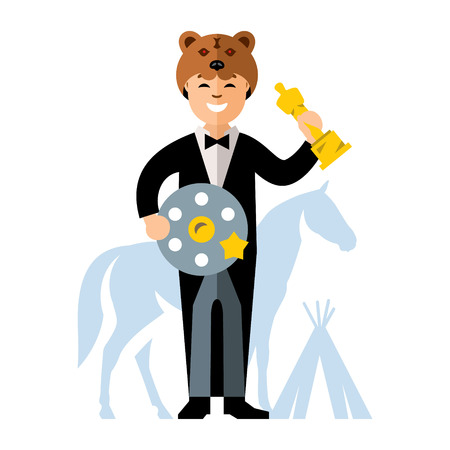 tipi: Man in tuxedo with a Movie Film Reel and a gold statuette. Cap Bear, horse, tipi. Isolated on a white background Illustration