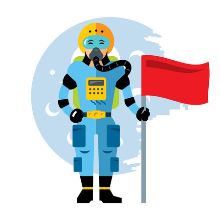 Girl in a spacesuit planted a flag on the new planet. Isolated on a white background Illustration