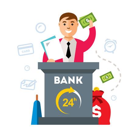 Bankier van het contract en het geld wordt op het podium. Geïsoleerd op een witte achtergrond
