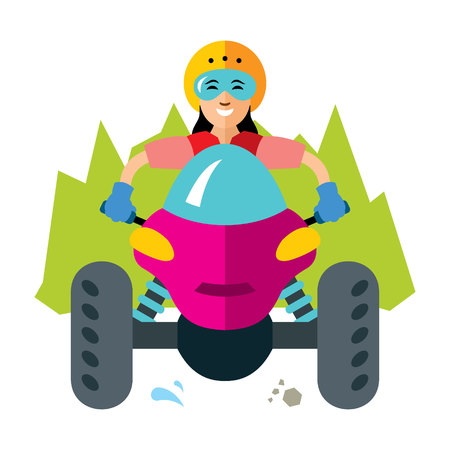 Elegant woman riding quadrocycle. Isolated on a white background