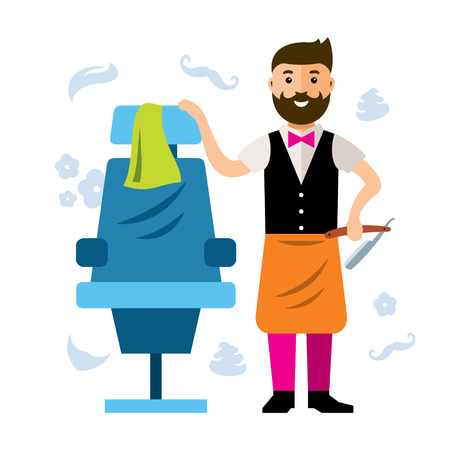 Happy barber near the hairdressing chairs. Isolated on a white background Ilustração