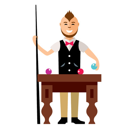 The player with the cue next to the table. Isolated on a white background