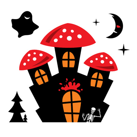Vampire Residence. Isolated on a white Background 일러스트