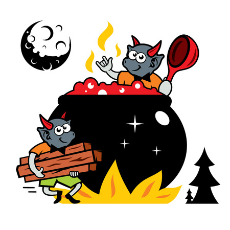 Devilry mix the potion in a boiling cauldron. Isolated on a white Background Illustration