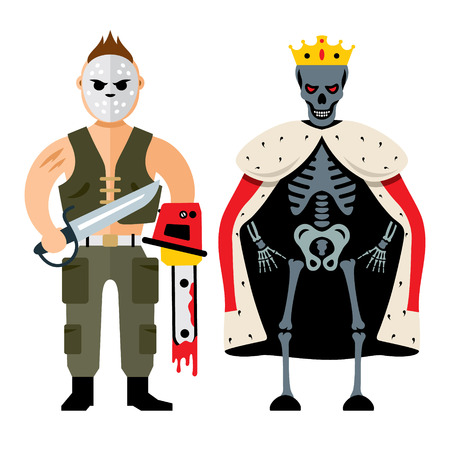 Maniac and king skeleton. Isolated on a white Background Vektorové ilustrace