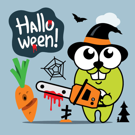 Green Bunny with chainsaw and carrot. Isolated on a color Background
