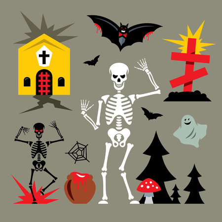 amanita: Skeletons, church, grave and bat. Isolated on a color Background