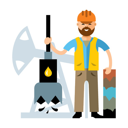 borehole: Driller lowers the drill and keeps the hole. Isolated on a white background Illustration