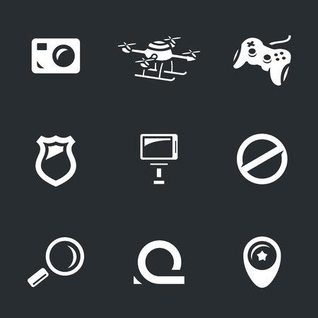 violator: Camera, quadrocopter, joystick, police badge, selfie stick, prohibition, magnifying glass, loop, pointer.