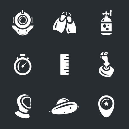 extreme science: Spacesuit, flippers, oxygen cylinder, stopwatch, ruler, joystick, wetsuit, bathyscaphe, pointer. Illustration
