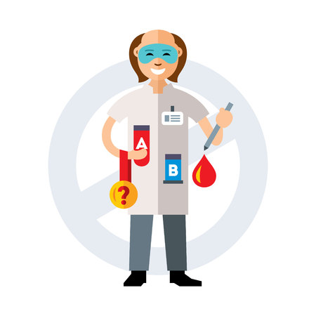 Doctor holding a blood test athletes. Isolated on a white background