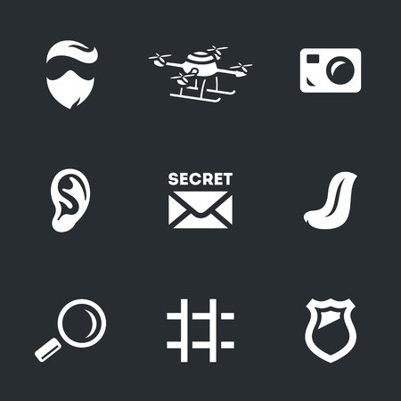 spy, quadrocopter, video camera, ear, secret documents, language, magnifier, prison, police badge.