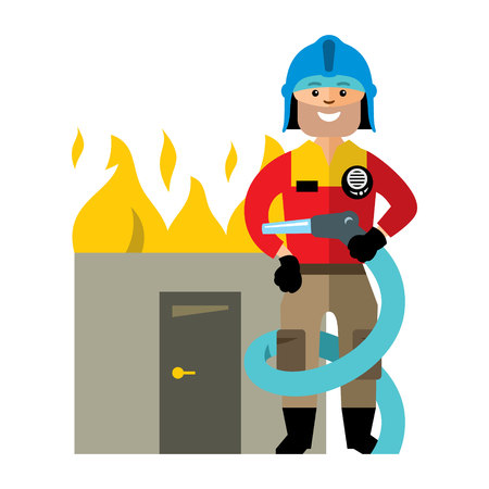 Man in uniform with a hose to extinguish a burning building. Isolated on a white background Illustration