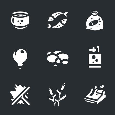 scraper: aquarium, fish, bag with water, light, rocks, oxygen, scraper, cane, cash.