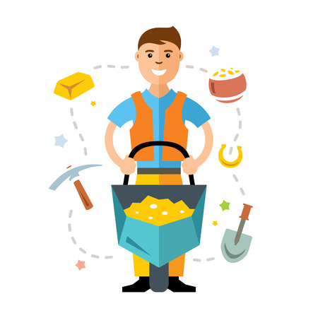 A man with a cart of gold. Isolated on a white background Illustration