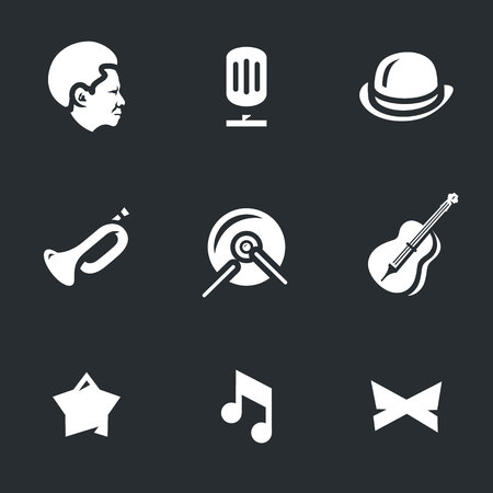 drum and bass: Man, microphone, bowler hat, trumpet, drum, bass, star, note, butterfly. Illustration