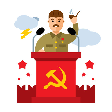 Man in military uniform with a pipe in his hand stands behind the podium.