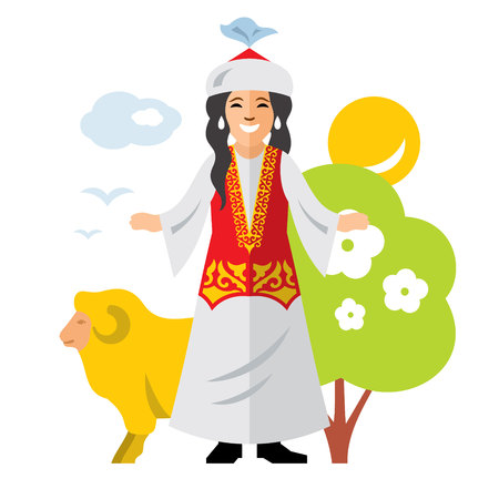 The girl in traditional dress, sheep, nature. Isolated on a white background
