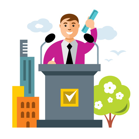 Politician waving the pre-election program. Isolated on a white background Illustration