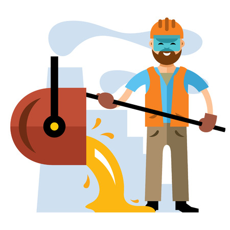Metallurgist pours the molten metal. Isolated on a white background Ilustracja