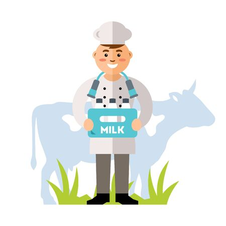 milkman: Man with a plastic box of milk, grass and cow. Isolated on a white background Illustration