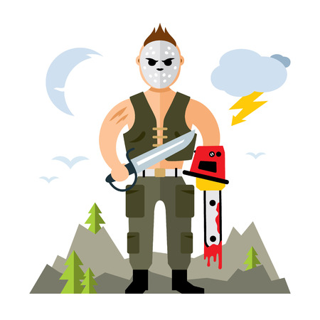 machete: A man in a mask with holes holding a machete and a chainsaw. Isolated