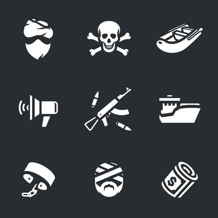 shackles: Pirate, skull and crossbones, inflatable boat, speaker, weapons, ship, shackles, victim, money. Illustration
